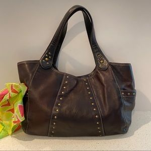 Brown Leather Large Hobo bag with studs